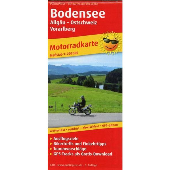 Motorradkarte Bodensee, Allgäu - Ostschweiz - Vorarlberg 1:200 000